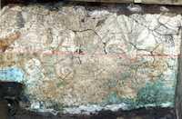 Vista parcial de un muro de la caja de agua de Tlatelolco, donde se observa la pintura mural plasmada por tlacuilos