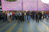 Aspecto de la manifestación que ayer recorrió el Paseo de la Reforma