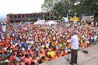 Mitin de López Obrador, durante su gira por Veracruz