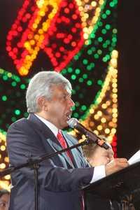 López Obrador durante el Grito de los libres