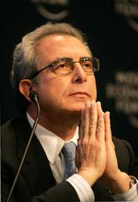El ex presidente Ernesto Zedillo, durante una conferencia en el Foro Económico de Davos