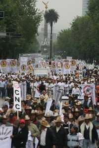 Vista parcial del Paseo de la Reforma –de oriente a poniente– durante la marcha de agrupaciones campesinas, sindicales y ciudadanas, ayer, para exigir cambios al régimen económico neoliberal