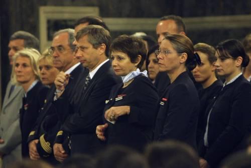 Pilotos de Air France durante el funeral por sus compañeros