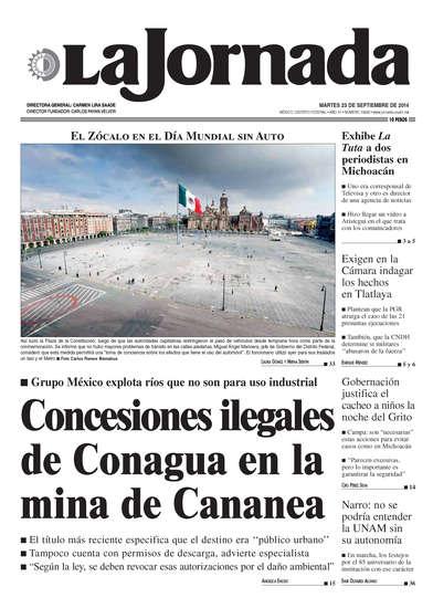 Portada del periodico La Jornada 23 de septiembre de 2014