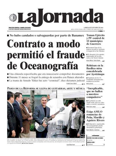 Portada del periodico La Jornada 20 de octubre de 2014