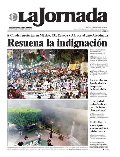 Portada del periodico La Jornada 23 de octubre de 2014