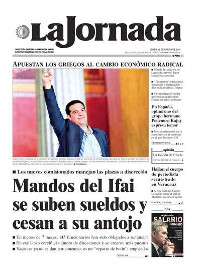 Portada del periodico La Jornada 26 de enero de 2015