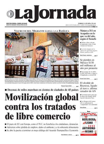 Portada del periodico La Jornada 19 de abril de 2015