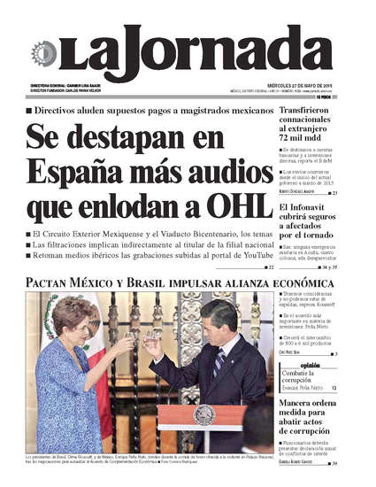 Portada del periodico La Jornada 27 de mayo de 2015