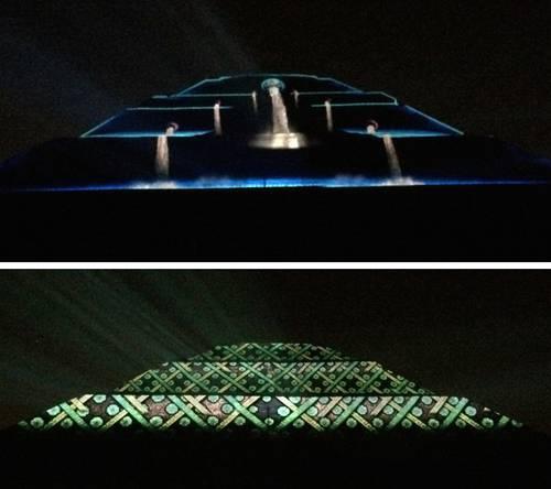La jornada hacen las primeras pruebas de show multimedia Espectaculo de luz y sonido en teotihuacan