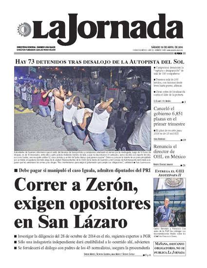 Portada del periodico La Jornada 30 de abril de 2016