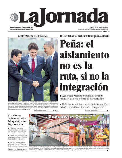 Portada del periodico La Jornada 30 de junio de 2016