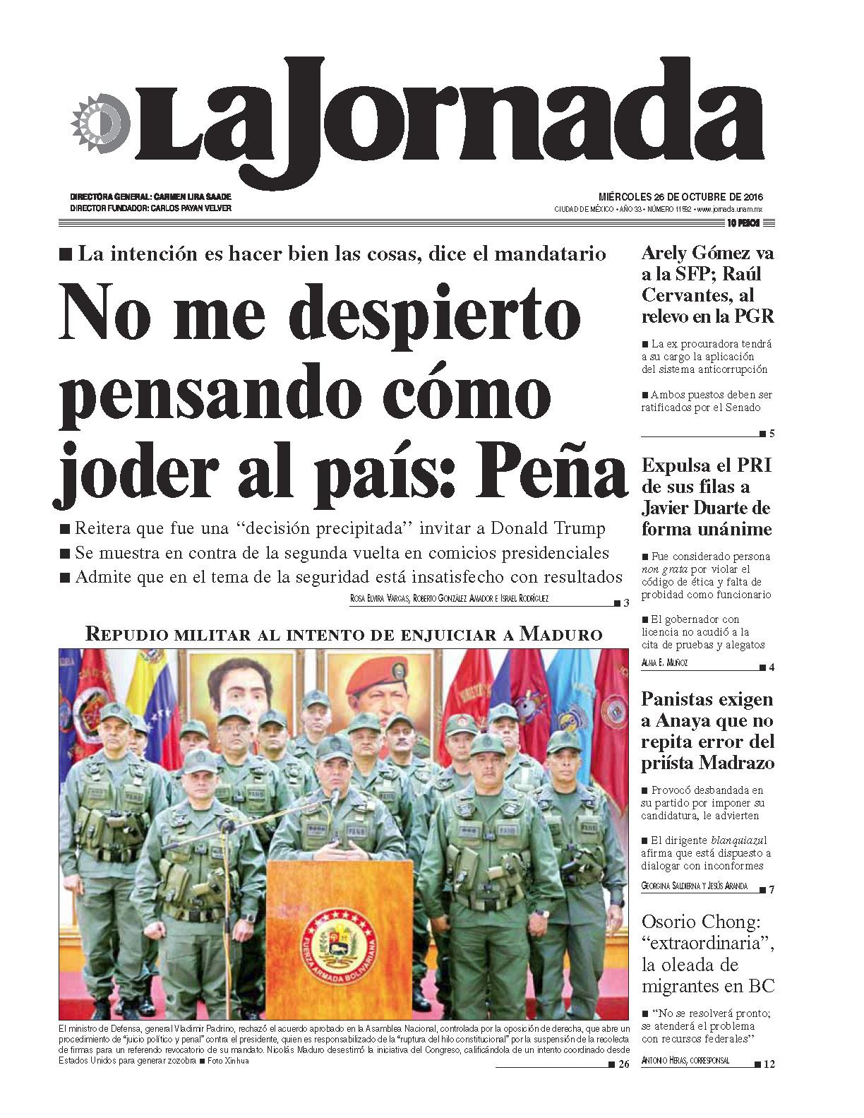 Portada del periodico La Jornada 26 de octubre de 2016