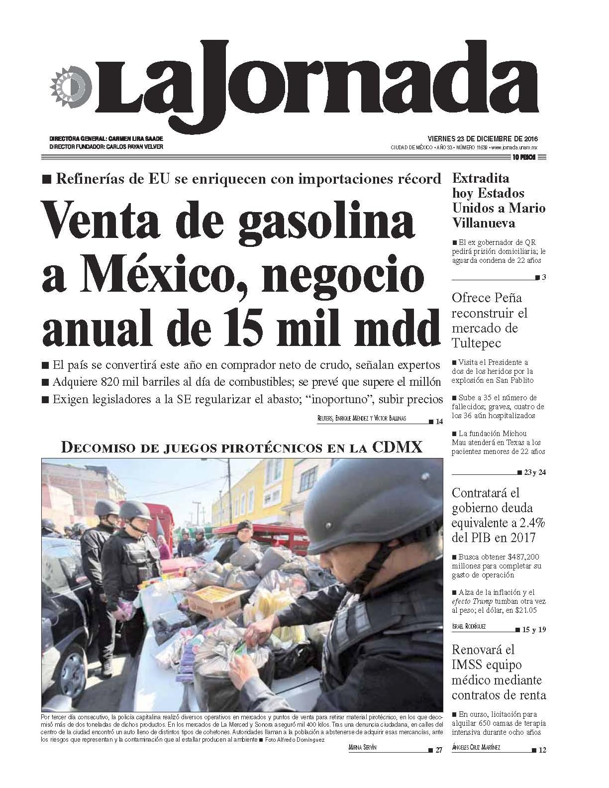 La jornada en internet viernes 23 de diciembre de 2016 for Noticias del espectaculo mexicano del dia de hoy