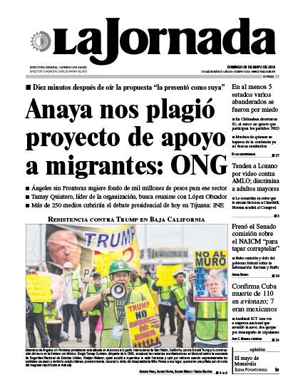 Portada del periodico La Jornada 20 de mayo de 2018
