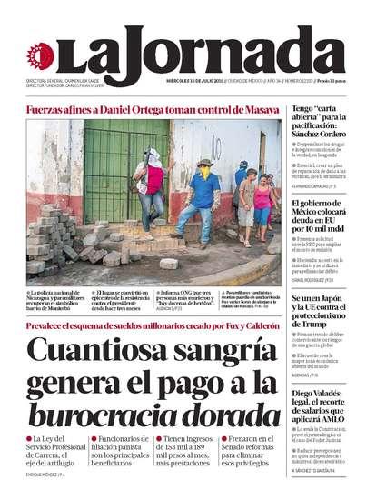 Portada del periodico La Jornada 18 de julio de 2018