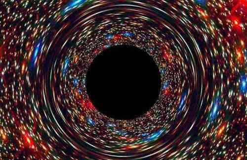 Simulación de un agujero negro en el núcleo de una galaxia.