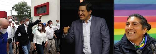 El ex banquero Guillermo Lasso se dirige a votar en Guayaquil. Al centro, el candidato correísta Andrés Arauz, celebra en Quito, mientras espera los resultados oficiales de las votaciones. A la derecha, el aspirante presidencial por el partido Pachakutik, Yaku Pérez, durante una conferencia de prensa.