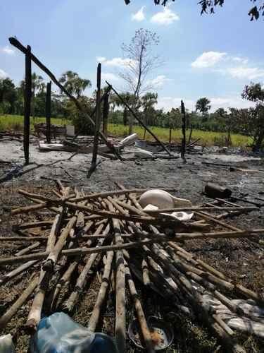Una de las 16 casas destruidas en el asentamiento irregular La Beraca, ubicado en el municipio de Candelaria, Campeche, por sujetos armados que golpearon y desalojaron a sus moradores.
