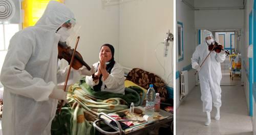 """Cuando el doctor Mohamed Salah Siala decidió aprovechar sus habilidades musicales contra el Covid-19, la reacción de los pacientes fue inmediata: sonrisas, aplausos y puños en alto para celebrar este fin de semana el concierto improvisado en el hospital Hedi Chaker de Sfax, en el este de Túnez. """"Sus melodías levantan la moral de los enfermos que permanecemos aislados y necesitamos una sonrisa; es algo maravilloso"""", dijo Rachid Arous, quien se recupera del nuevo coronavirus. Entre pasillos, la música de Siala –conocido como el médico del violín– también ha ayudado a sus compañeros ante la continua presión que padecen en los últimos meses debido al aumento de hospitalizaciones vinculadas al virus. """"Mi objetivo es contrarrestar su dolor y, sobre todo, su soledad"""", señaló el joven de 25 años. (Con información de Ap.)"""
