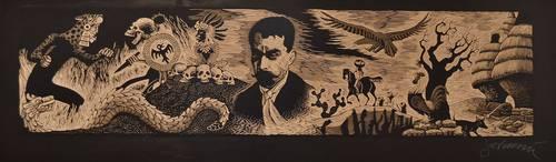 En el conversatorio La gráfica en México y Michoacán participaron Emilio Payán, director del Munae, y los artistas Marco Antonio López Prado y Pablo Querea. En la imagen, una representación de Emiliano Zapata rumbo a Chinameca, realizada por Sergio Sánchez Santamaría