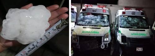 La noche del sábado una granizada que hizo caer bolas de hielo del tamaño de una pelota de beisbol e incluso más grandes provocó daños en varias ambulancias y en ventanales de la clínica del Instituto Mexicano del Seguro Social en Nueva Rosita, cabecera del municipio de Sabinas, Coahuila.