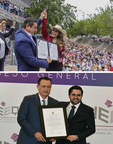 La morenista Evelyn Salgado y el panista Mauricio Kuri recibieron ayer las constancias de mayoría que los acreditan como gobernadores electos de los estados de Guerrero y Querétaro, luego de que concluyera el cómputo oficial de votos en esas entidades.