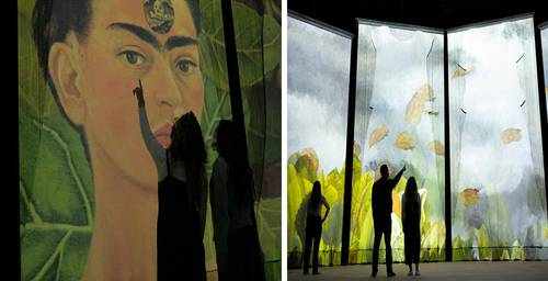 Dos imágenes de las 26 obras de Frida Kahlo de la exhibición 360 grados que se inaugurará el 6 de julio en el Frontón México.