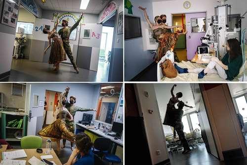 """Dos figuras de la danza francesa protagonizan un proyecto especial y emocionante: visitar nosocomios y trasladar a los pacientes a distintos mundos, donde destacan sus habilidades corporales, pero, sobre todo, su noble intención. Hugo Marchand y Dorothee Gilbert, del Ballet de la Ópera de París, acudieron recientemente al área de cuidados intensivos de un hospital parisino con la intención de """"obsequiar un momento alegre"""" a niños enfermos. Pese a que ambos bailarines usaron cubrebocas, la emoción de los espectadores fue evidente. """"Salimos de los teatros para compartir nuestra pasión con los niños, los padres y los trabajadores de la salud. Nuestra propuesta aporta un poco de belleza y despreocupación"""", apuntó Marchand, quien interpretó a un príncipe árabe."""
