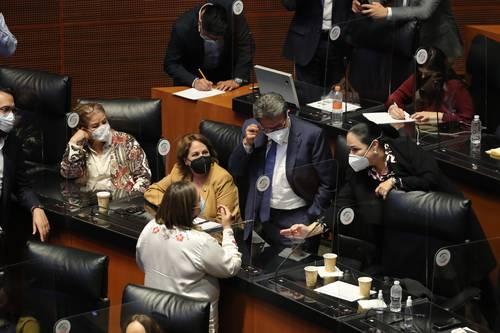 La senadora Xóchitl Gálvez discutió en la sesión de ayer con legisladores de Morena.