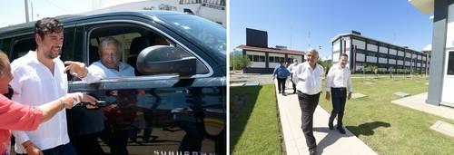 El presidente Andrés Manuel López Obrador visitó ayer el municipio de Badiraguato, Sinaloa (izquierda), e inauguró instalaciones de la Guardia Nacional en Tamazula, Durango.