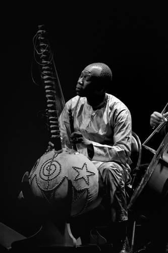 Ballaké Sissoko toca la kora. Imagen realizada por B. Pererelli, tomada de la página web del artista.