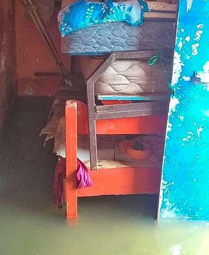 Una de las viviendas anegadas en el municipio de Lerdo de Tejada, por las intensas lluvias del fin de semana.