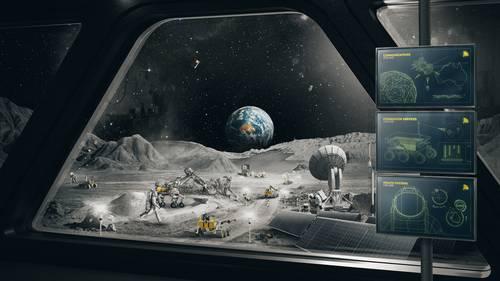 Paisaje lunar imaginario en imagen distribuida por la agencia espacial australiana.