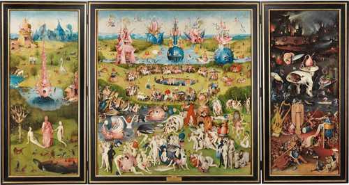 La muestra itinerante del Museo del Prado está integrada por 56 reproducciones de obras de arte, entre las cuales se incluye el Tríptico del Jardín de las delicias 1490–1500, de El Bosco.