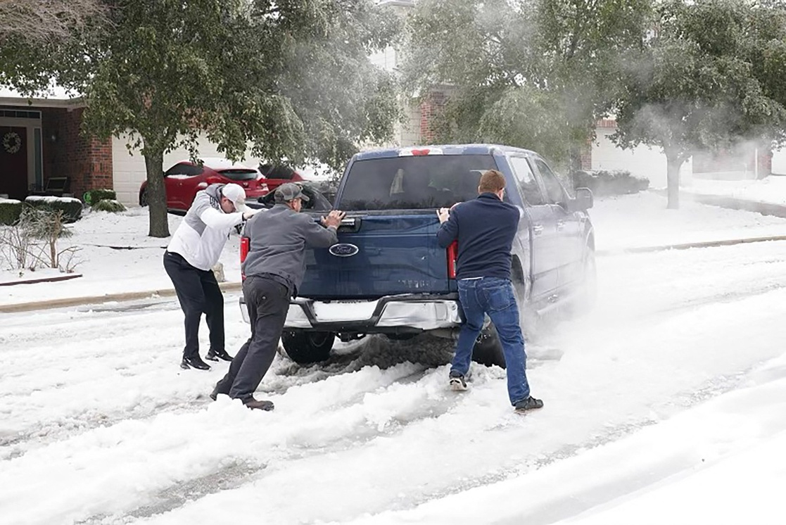 Aspectos de las nevadas en Texas.