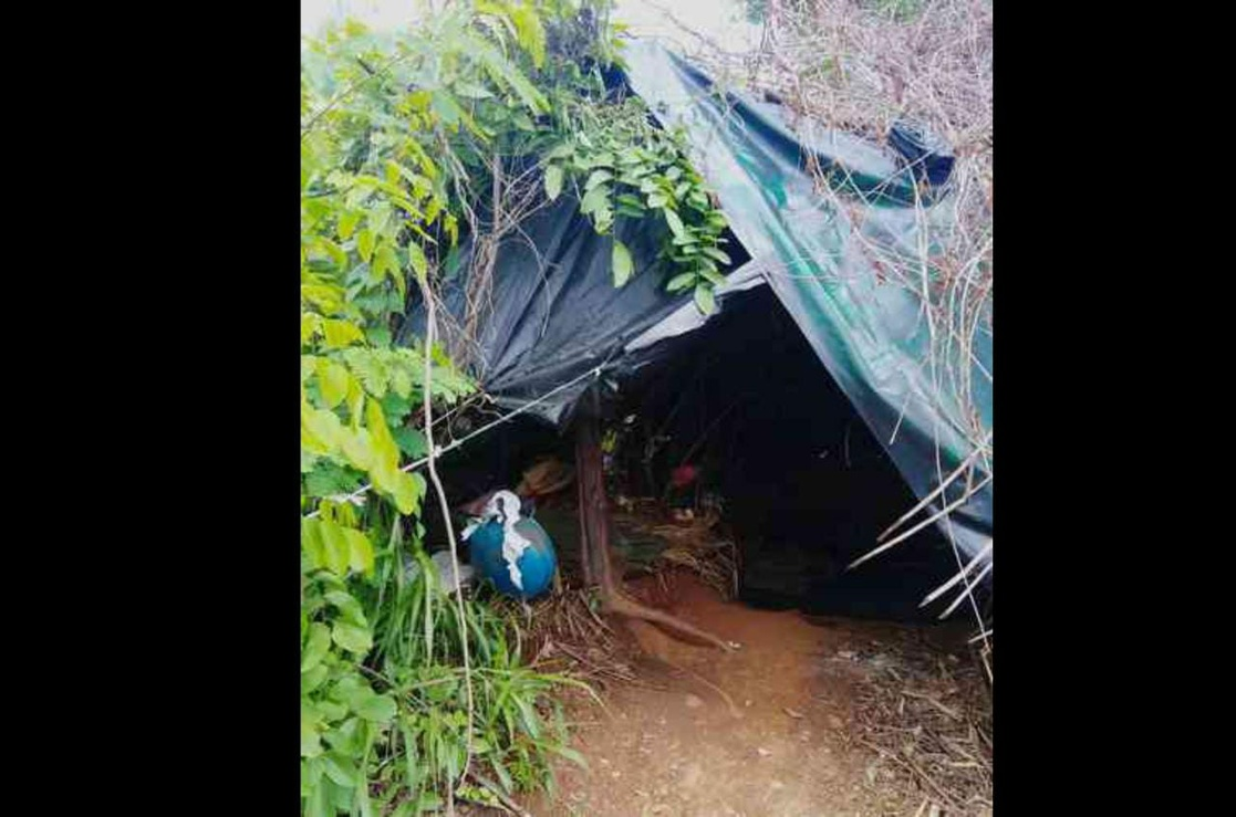Inhabitants of the El Abrojal community, in Zihuatanejo, Guerrero, hide in tents in the middle of the undergrowth after leaving their homes, forced by organized crime groups.